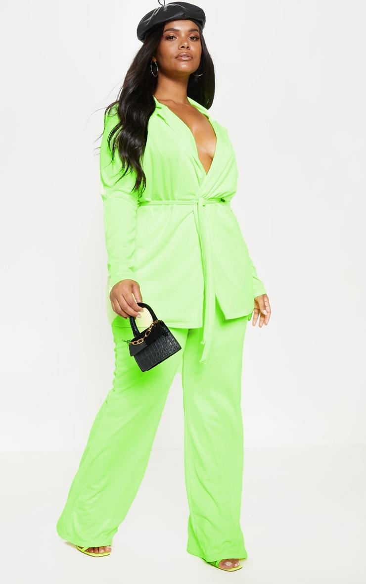 Plus Neon Lime Wide Leg Pants 1