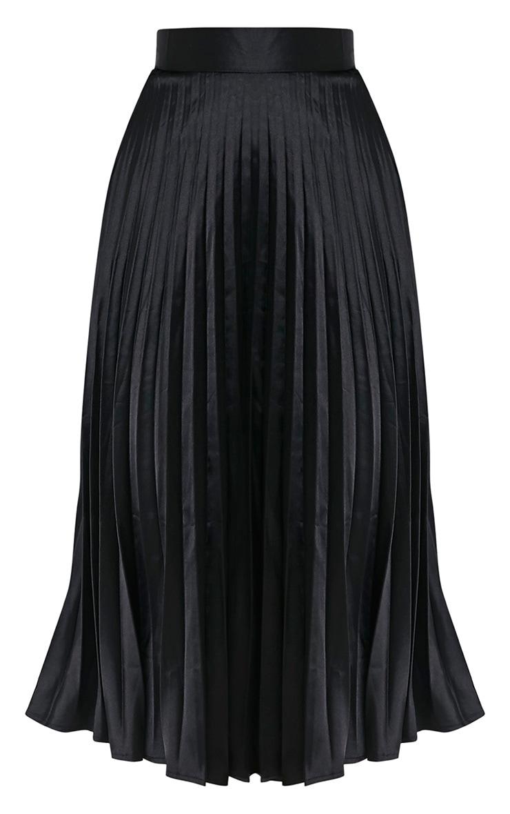 Harmonia Black Satin Pleated Midi Skirt 3