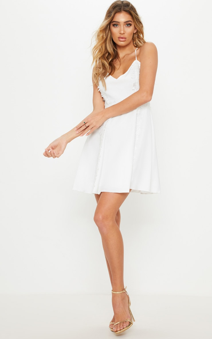 White Lace Trim Plunge Skater Dress 4