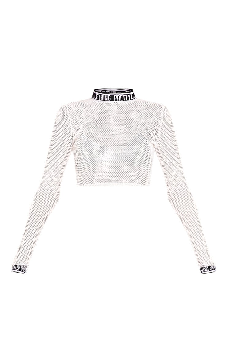 Therese White Fishnet Crop Top 3