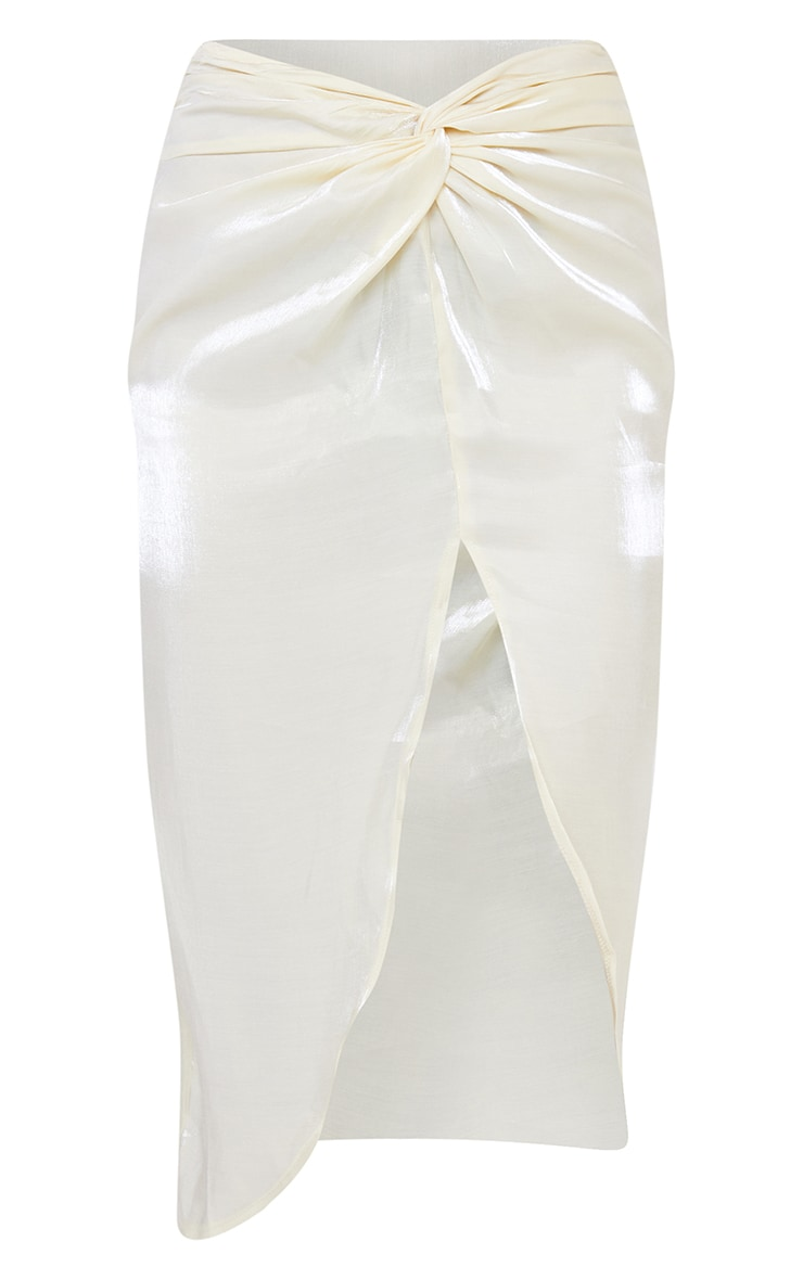 Cream Satin Shimmer Twist Front Midi Skirt 5