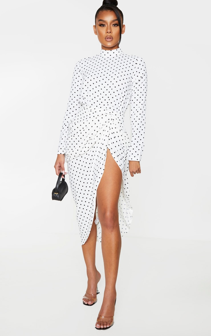 White Polka Dot High Neck Bodysuit 3