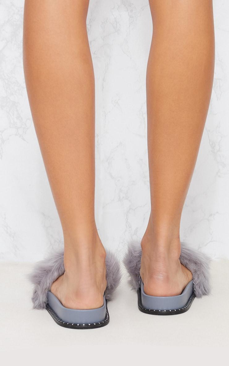 Grey Faux Fur Studded Sliders 4