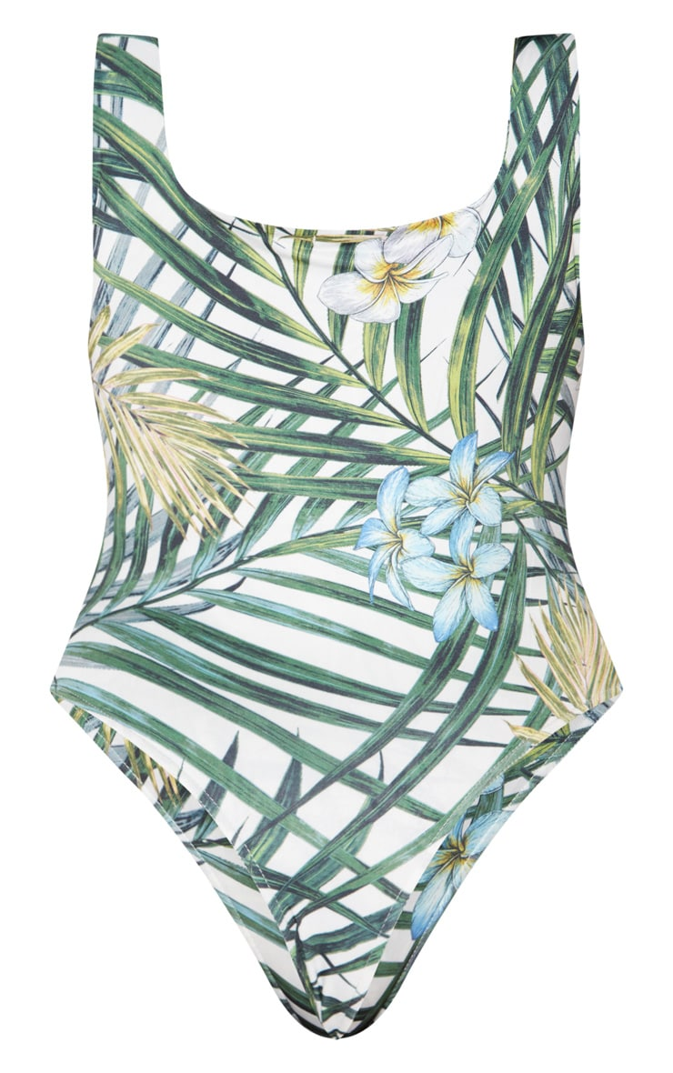 Plus White Tropical Print Slinky Square Neck Thong Bodysuit 4