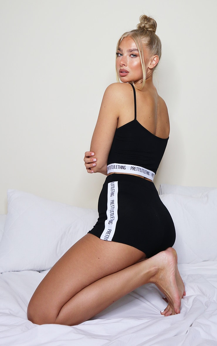 PRETTYLITTLETHING Black Tape Lounge Set 2