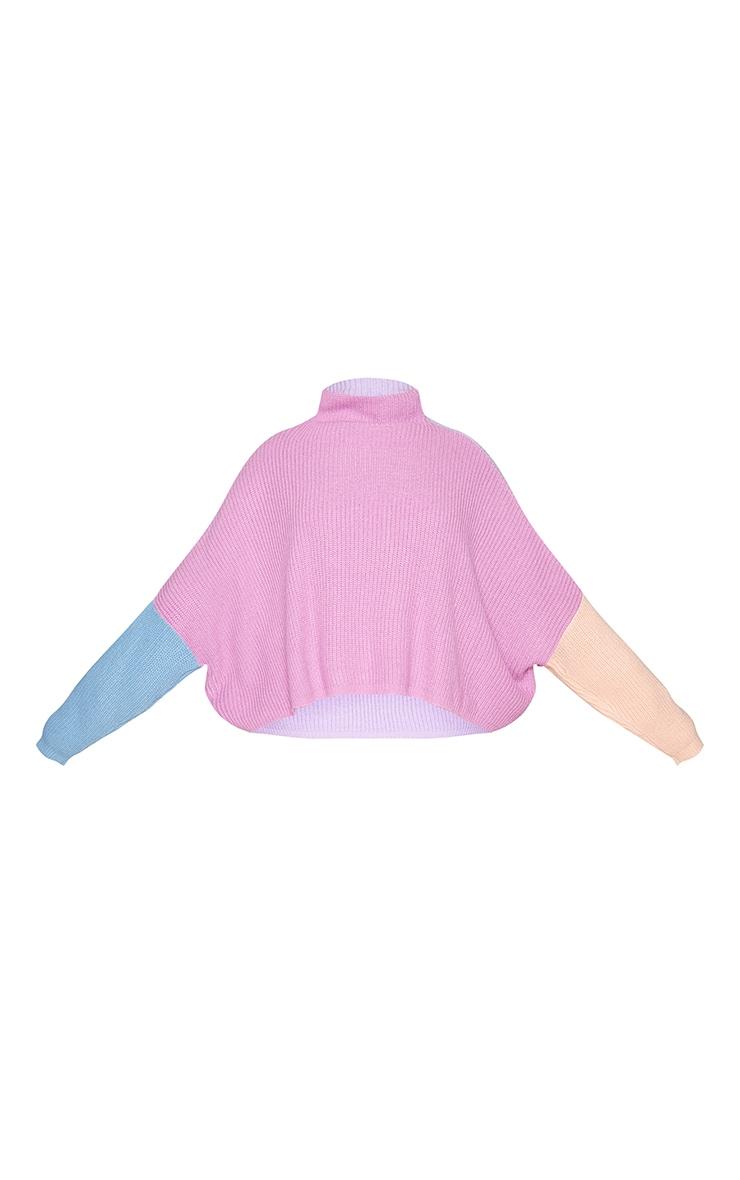 Plus Pink Oversized Color Block Sweater 5
