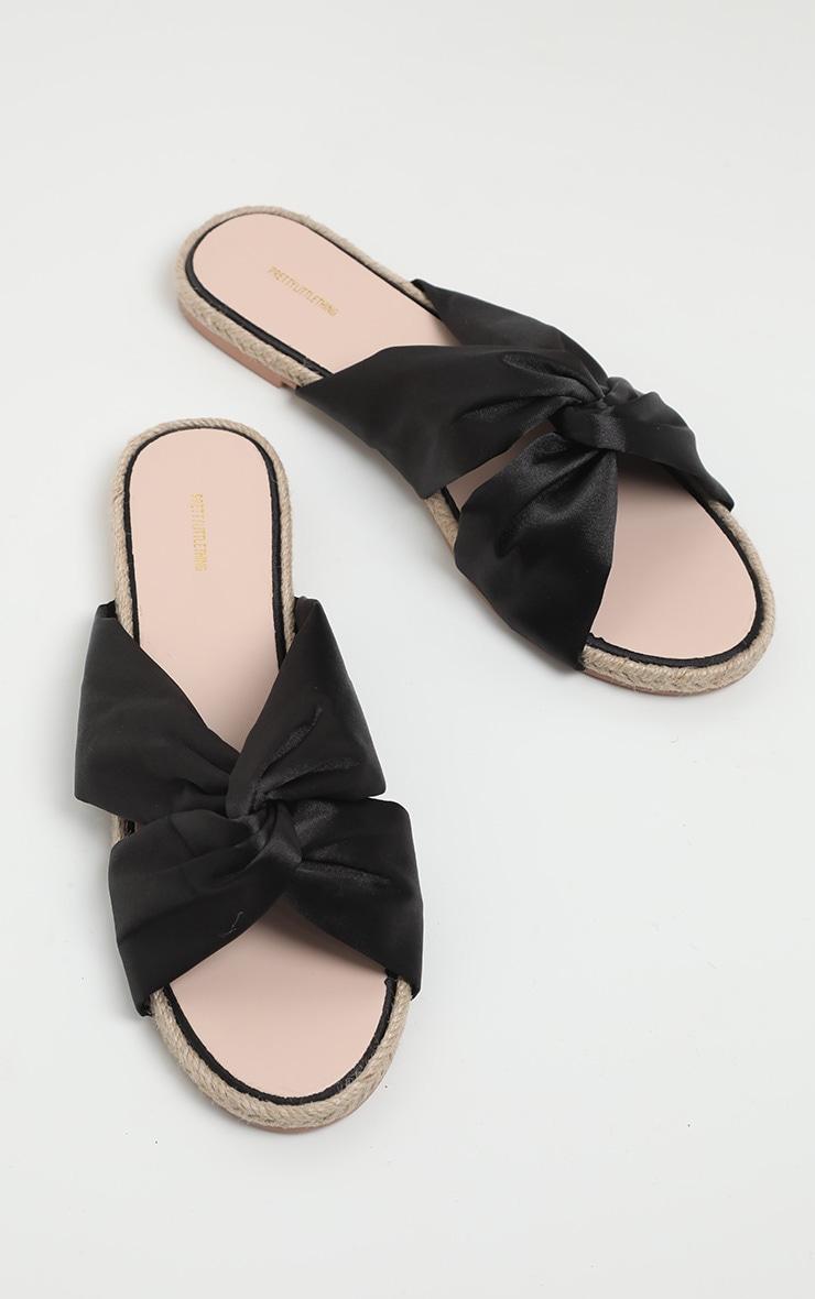 Sandales plates style espadrilles à noeud noires 3