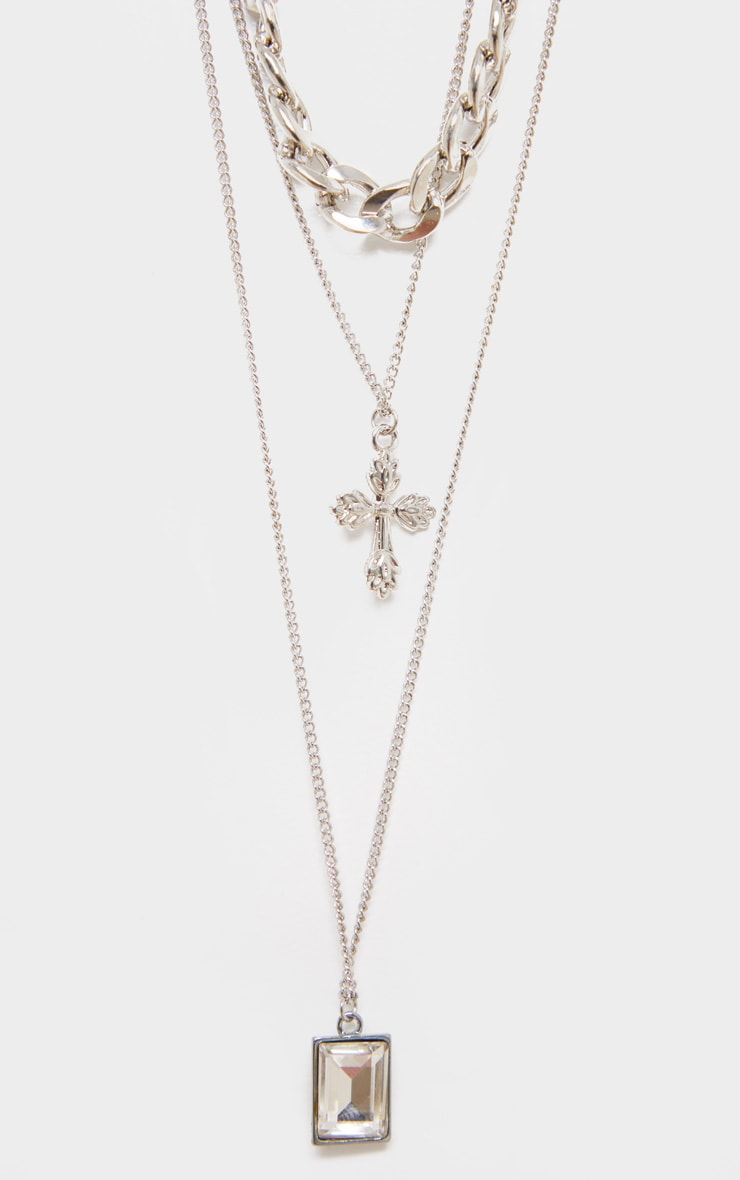 Silver Chunky Flat Chain And Pedant Layering Necklace 3