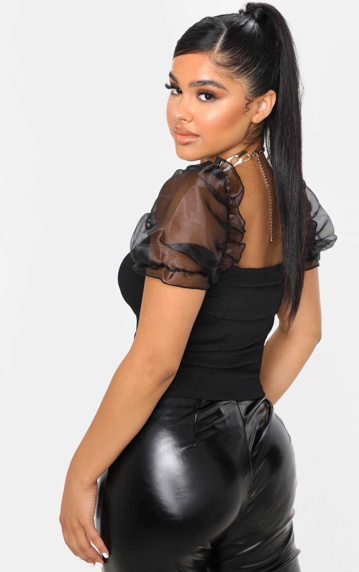 Petite Black Ribbed Organza Sleeve Crop Top 2