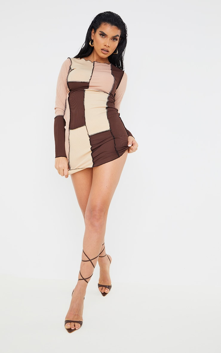 Brown Patchwork Overlock Stitch Detail Long Sleeve Bodycon Dress 3