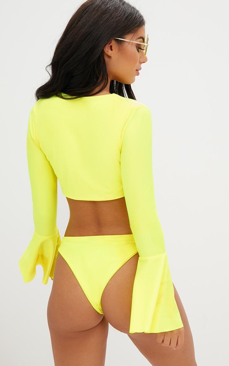 Yellow Frill Long Sleeve Bikini Set  3