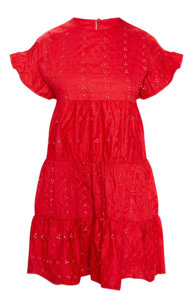 Red Broderie Anglaise Smock Dress 3