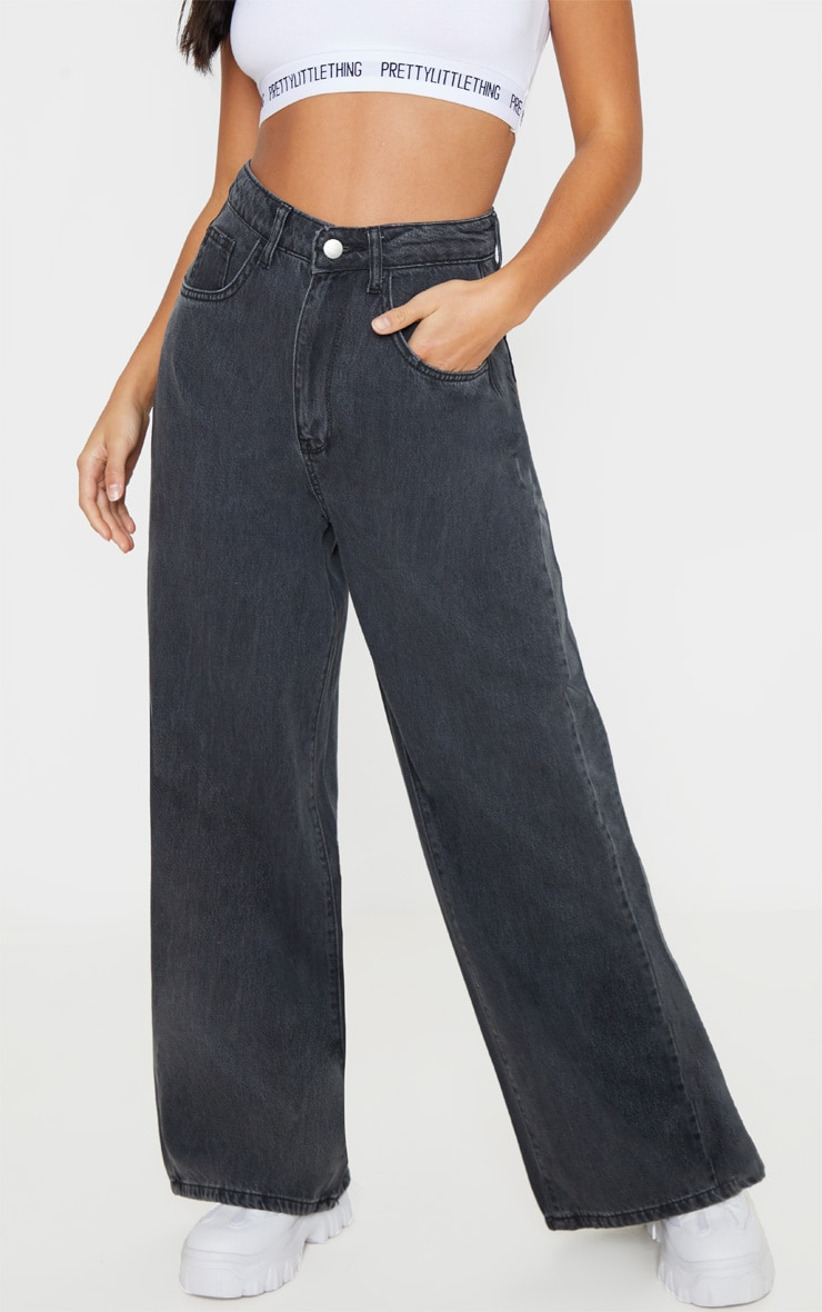 Petite Washed Black Wide Leg Jeans  2