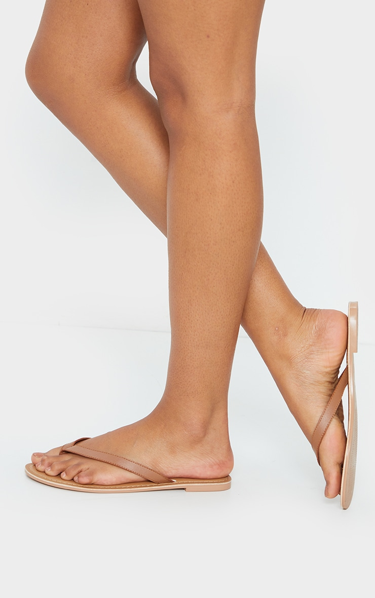 Tan Real Leather Contrast Sole Toe Thong Sandals 2