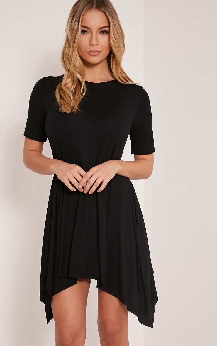 Trudi Black Raw Edge Asymmetric  Hem Dress 1