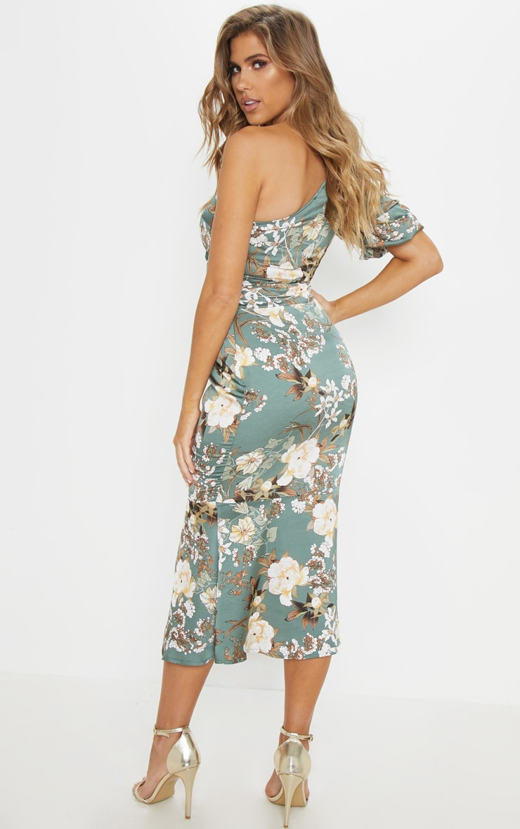 Sage Green Floral One Shoulder Fishtail Midi Dress 2