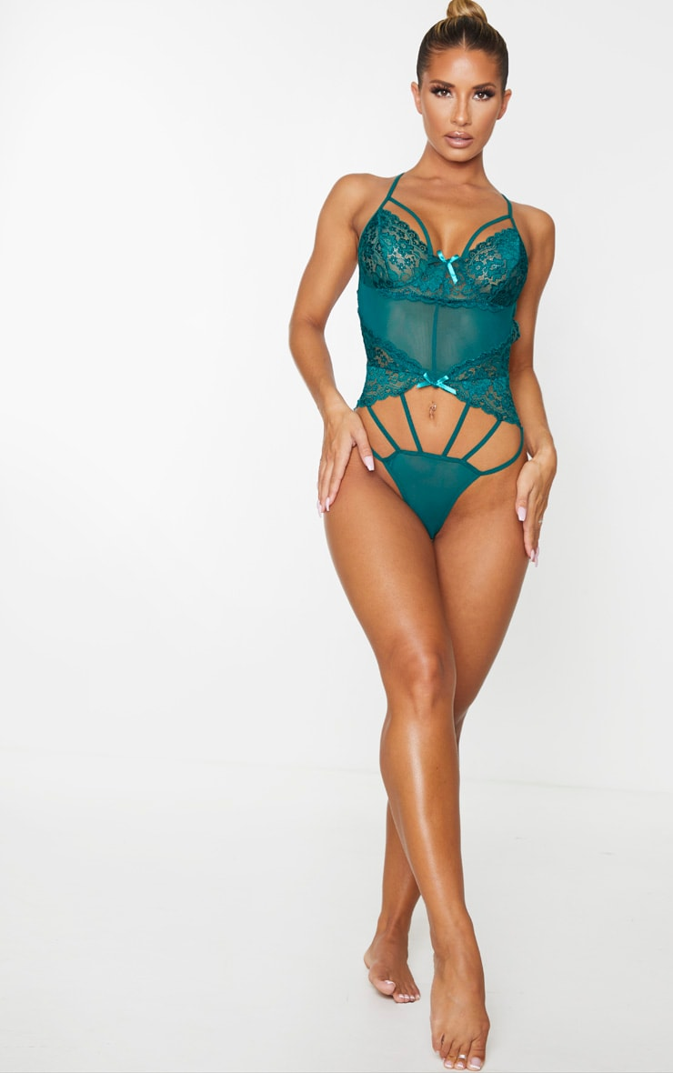 Emerald Green Strapping Detail Lace Body 3