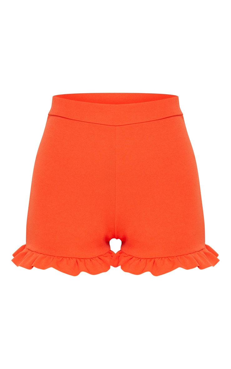 Orange Frill Hem Shorts  4