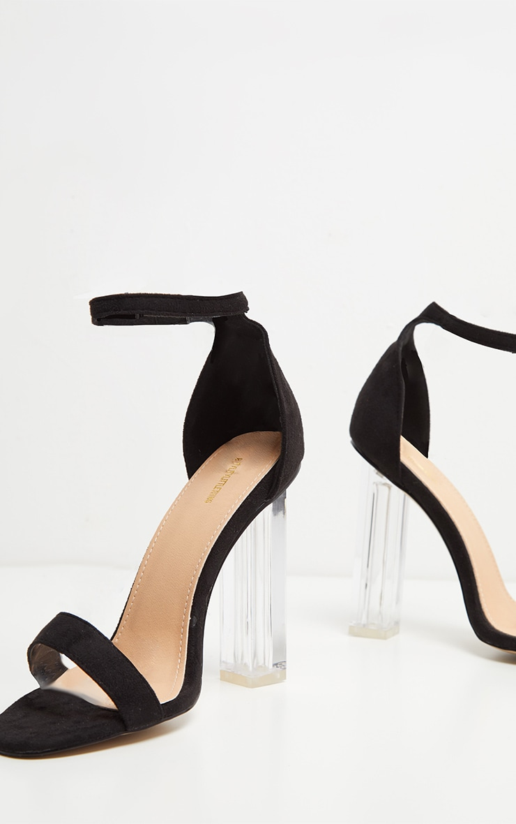 Black Strap Clear Heels 4