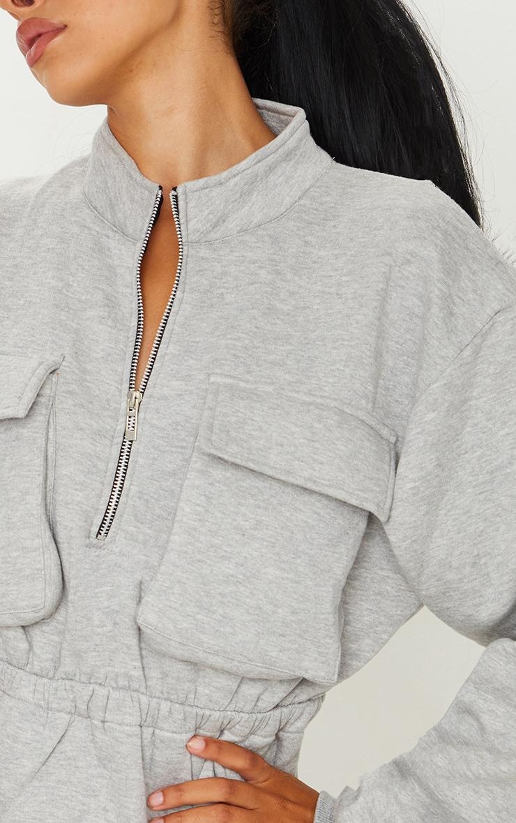 Grey Pocket Detail Elasticated Waist Sweater Dress 4