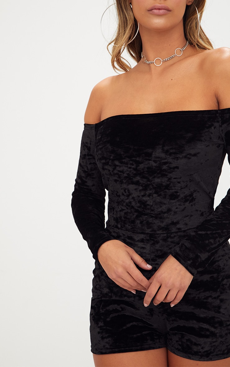 Black Velvet Long Sleeve Bardot Playsuit  5