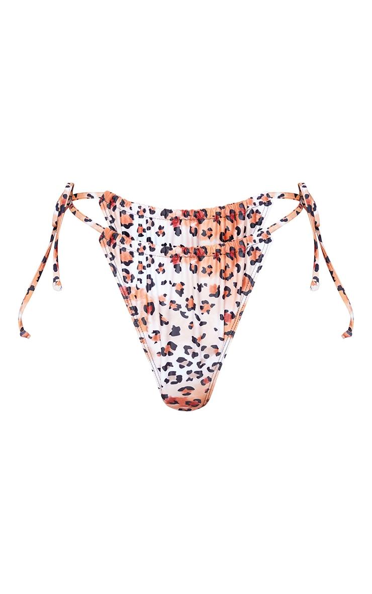 Leopard Ruched Tie Side Bikini Bottoms 5