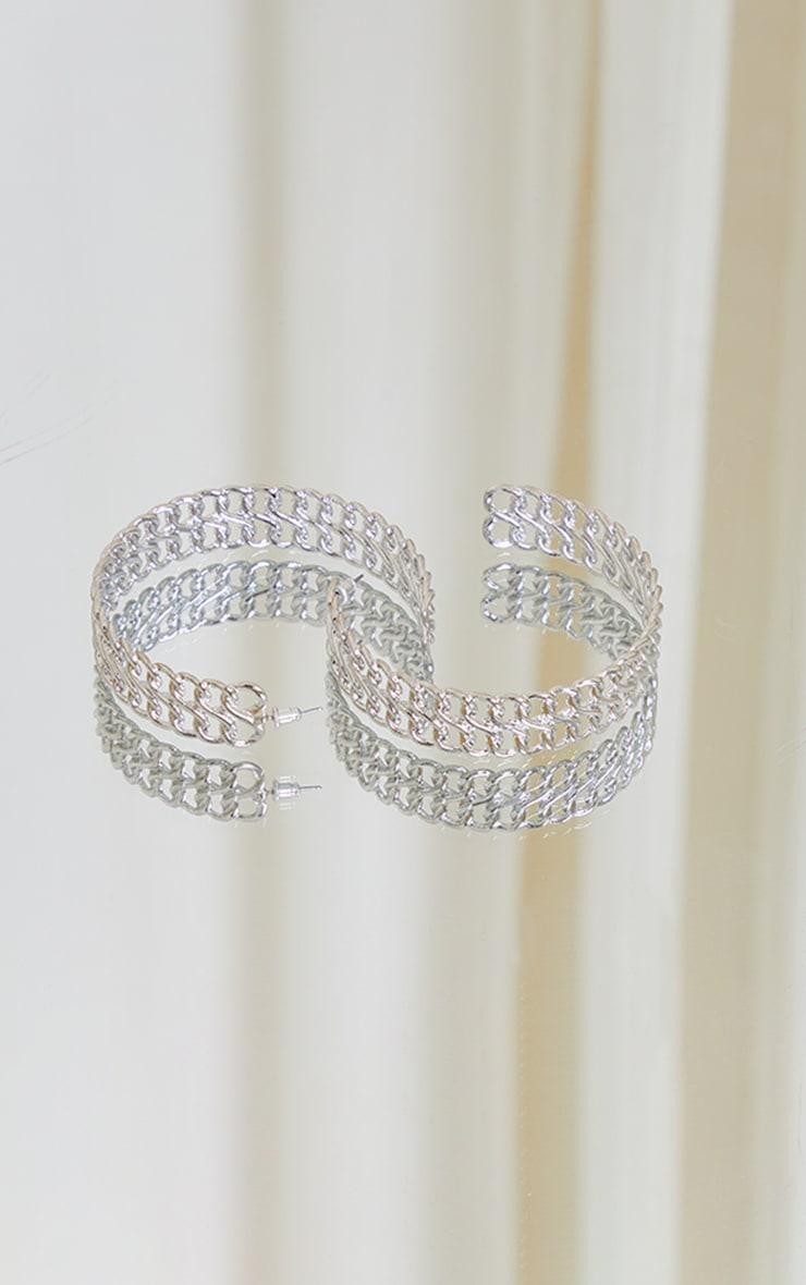 Silver Chunky Chain Hoop Earrings 3