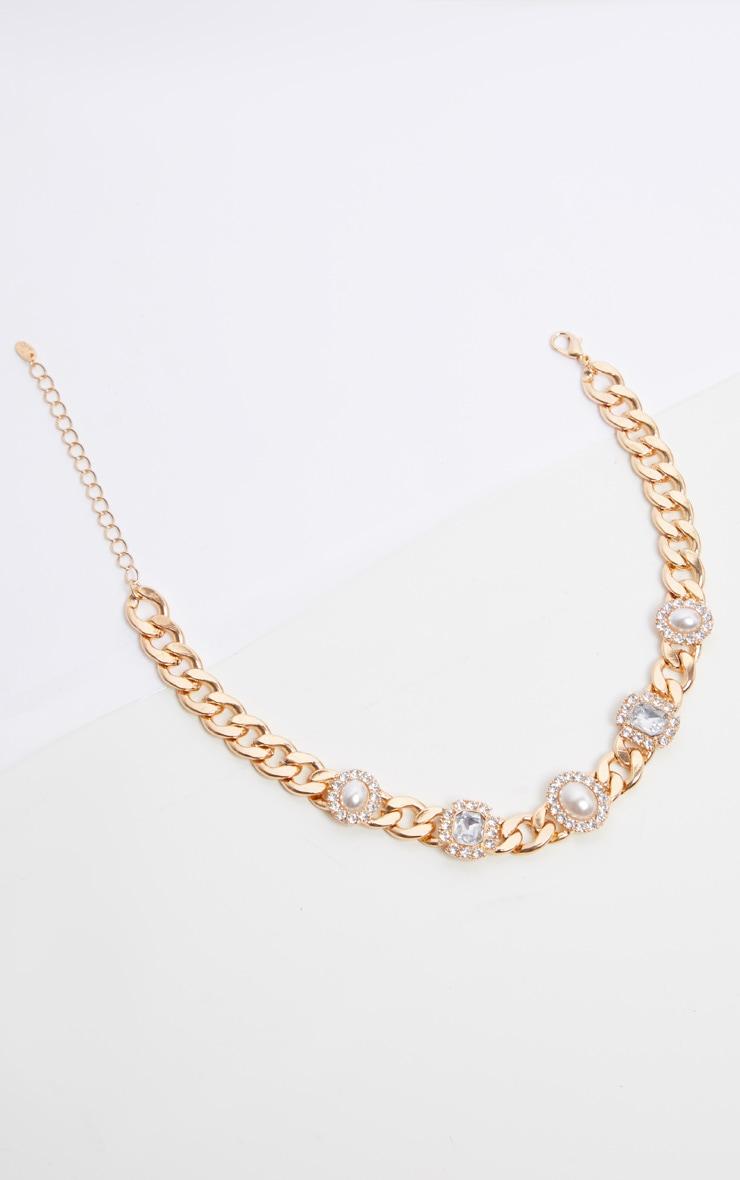 Gold Chain Pearl And Diamante Choker 4