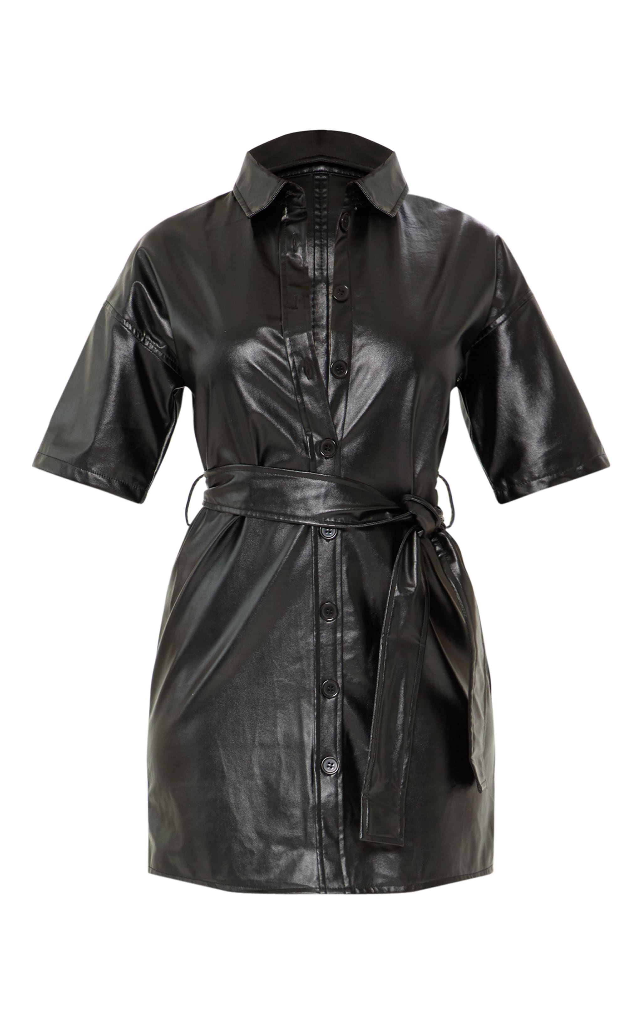 Black Button Up Tie Waist PU Shirt Dress 3