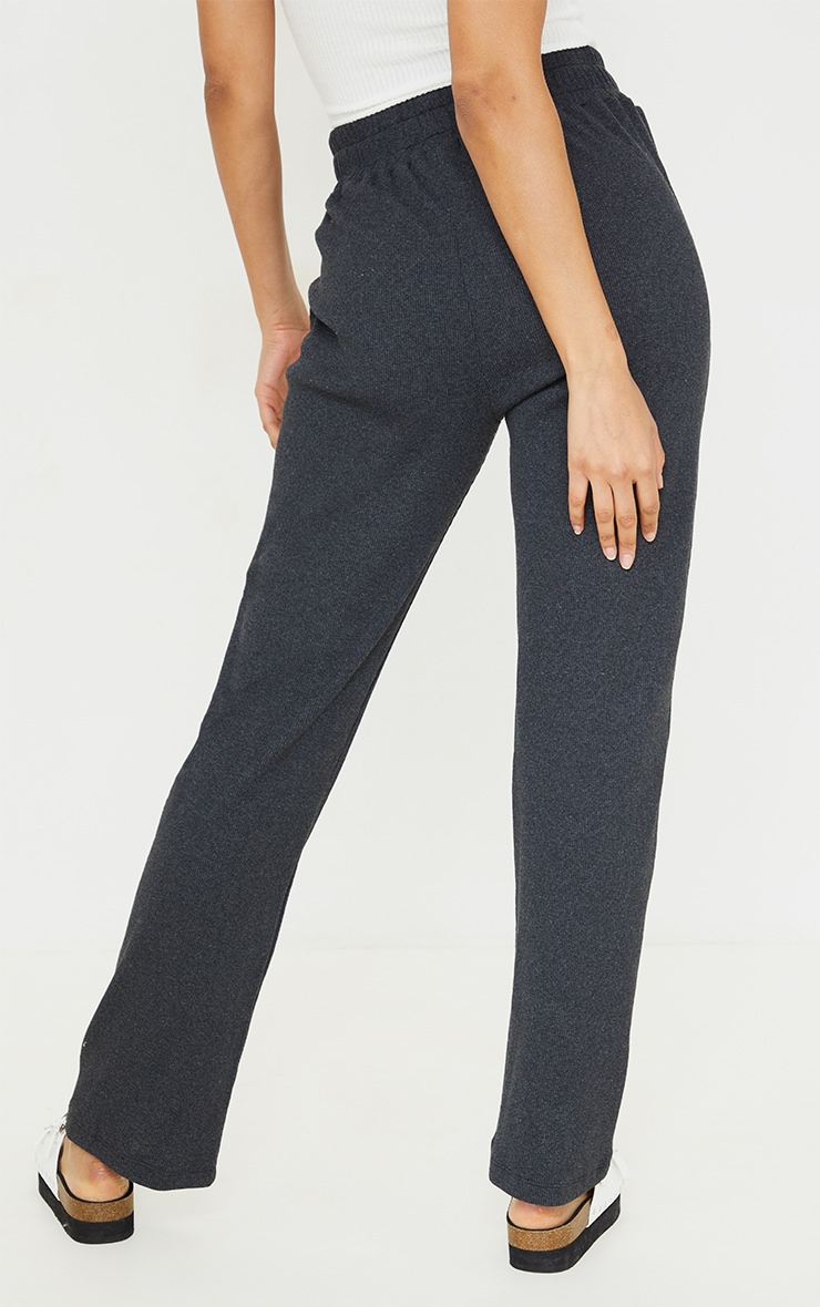 Charcoal New Season Contrast Front Seam Straight Leg Trousers 3