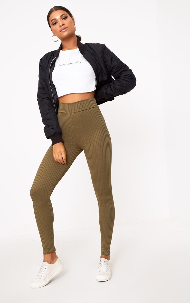 Harlie Khaki Ribbed High Waisted Leggings 1