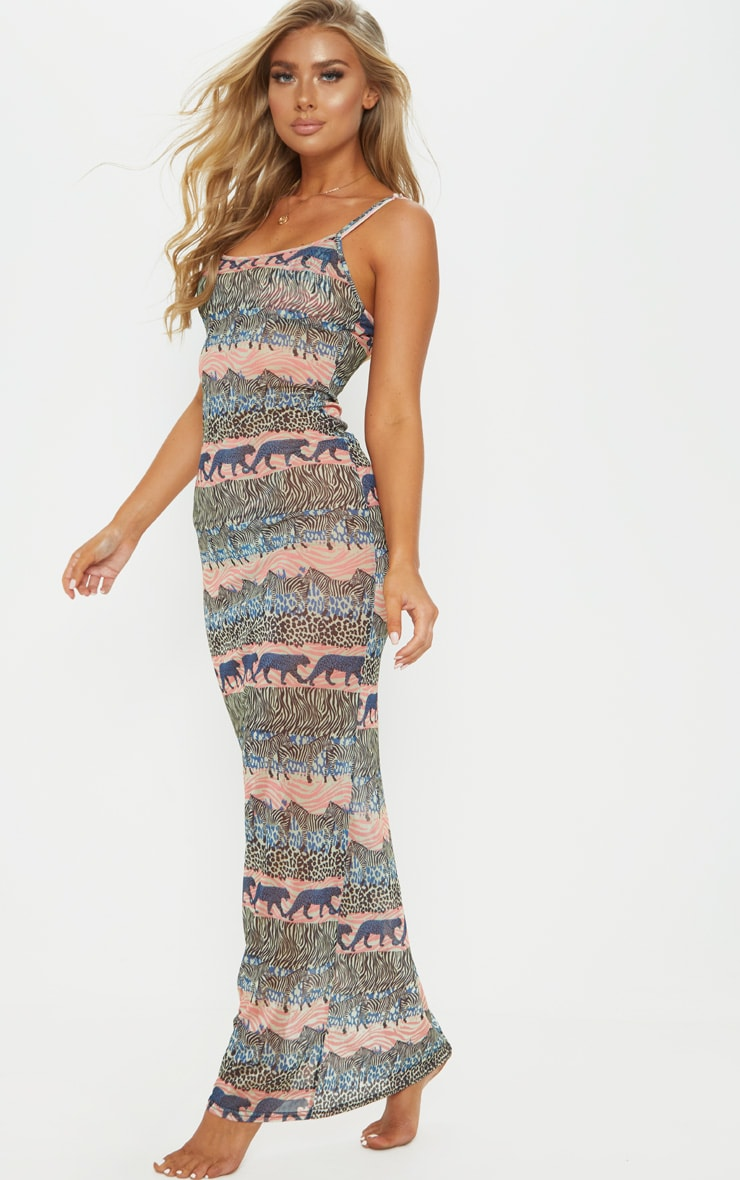 Blue Zebra Safari Mesh Maxi Beach Dress 1