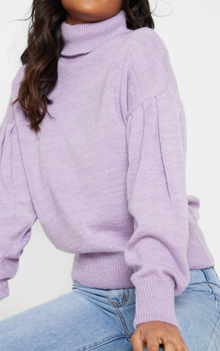 Lilac Oversized Puff Sleeve Roll Neck Jumper 4