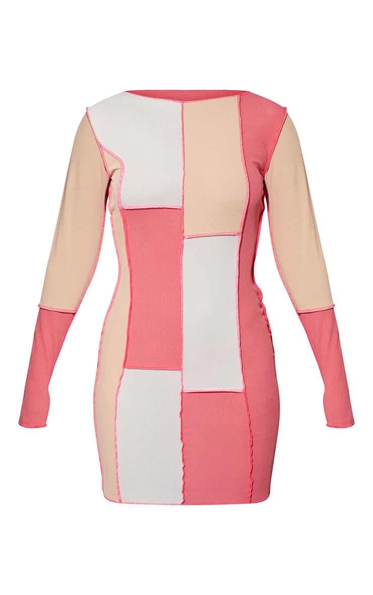 Pink Patchwork Overlock Stitch Detail Long Sleeve Bodycon Dress 5