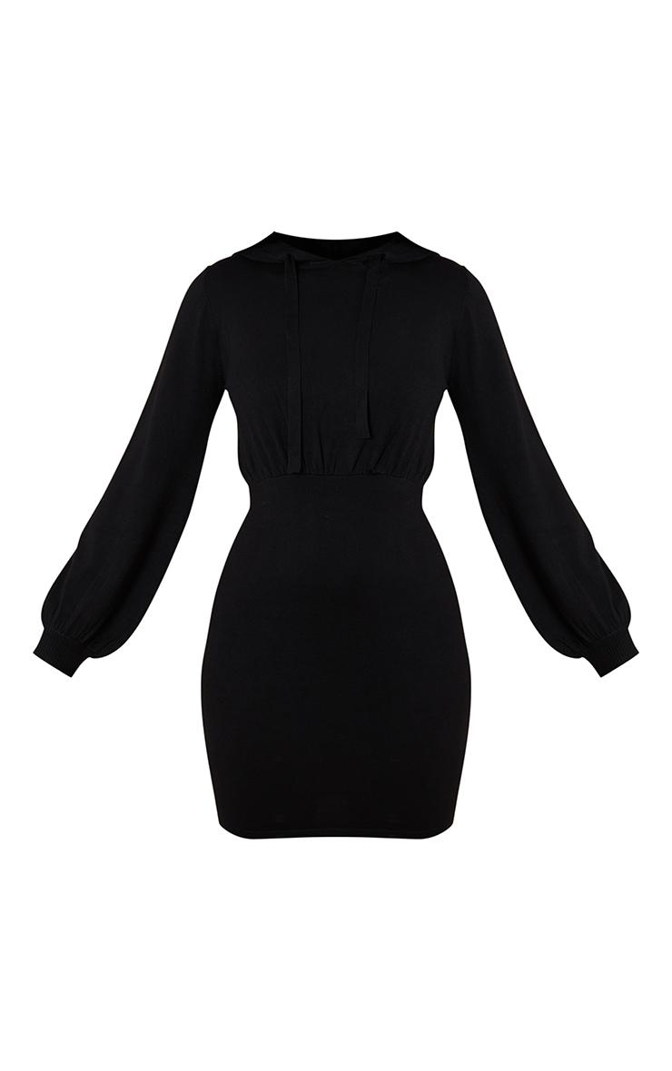 Black Hooded Knitted Mini Dress 5