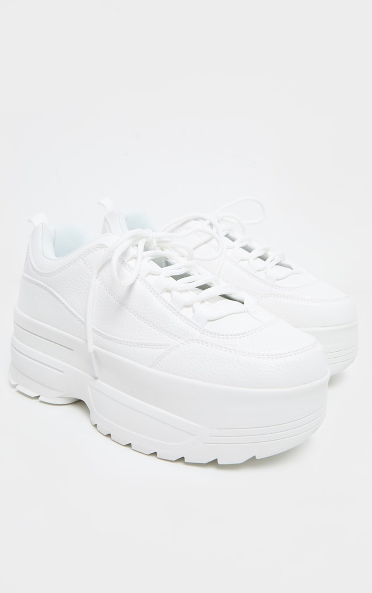 White Triple Sole Cleated Chunky Sneakers 4