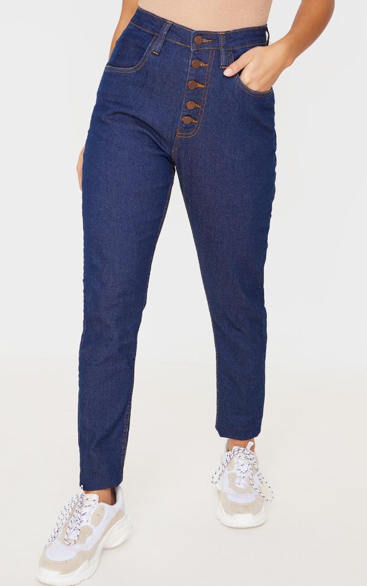 Petite Dark Blue Wash Skinny Button Front Denim Jean 2