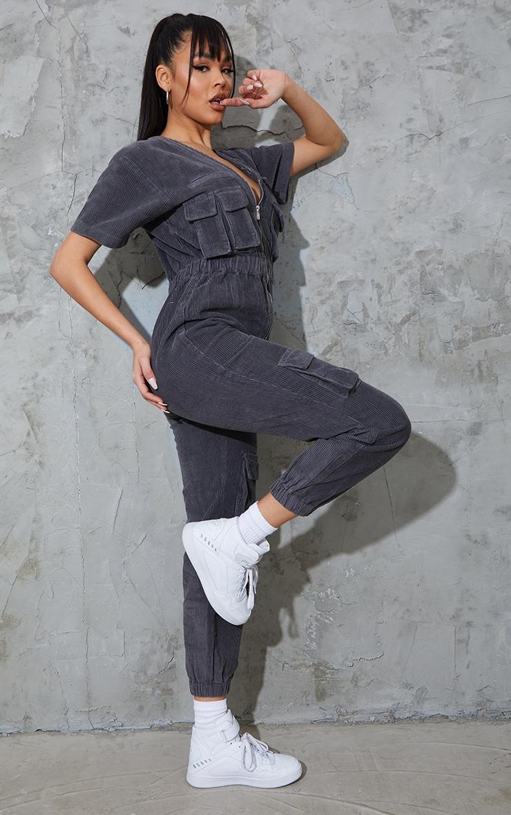 Grey Short Sleeved Cargo Pocket Cord Jumpsuit 3