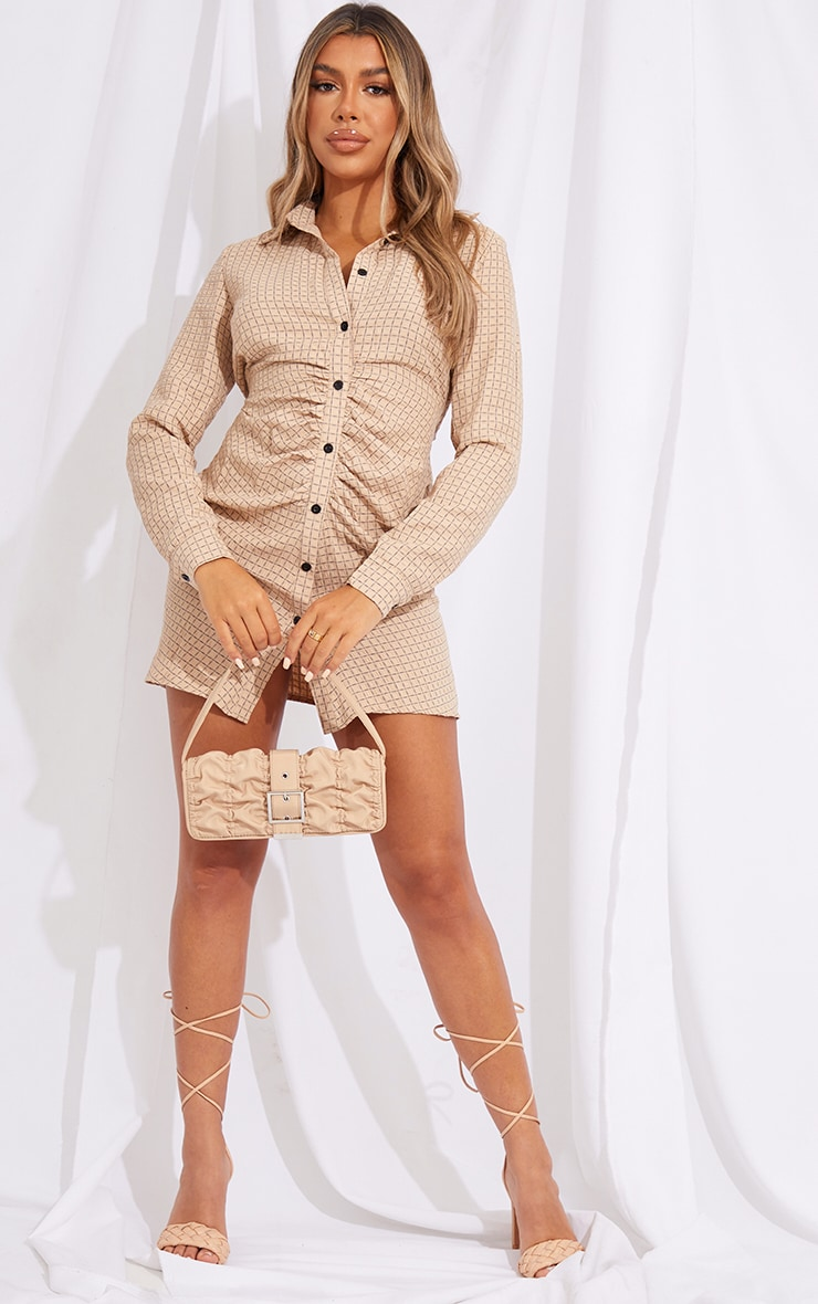 Stone Check Print Button Up Ruched Shirt Dress 3