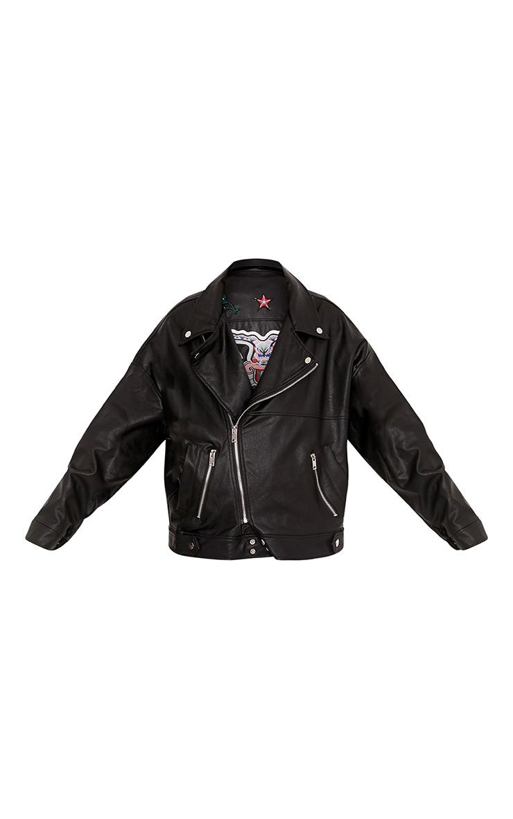 Aria Black Oversized Embroidered PU Jacket 3