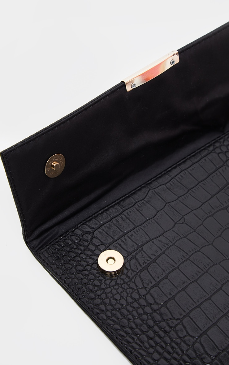 Black Croc Basic Clutch Bag 3