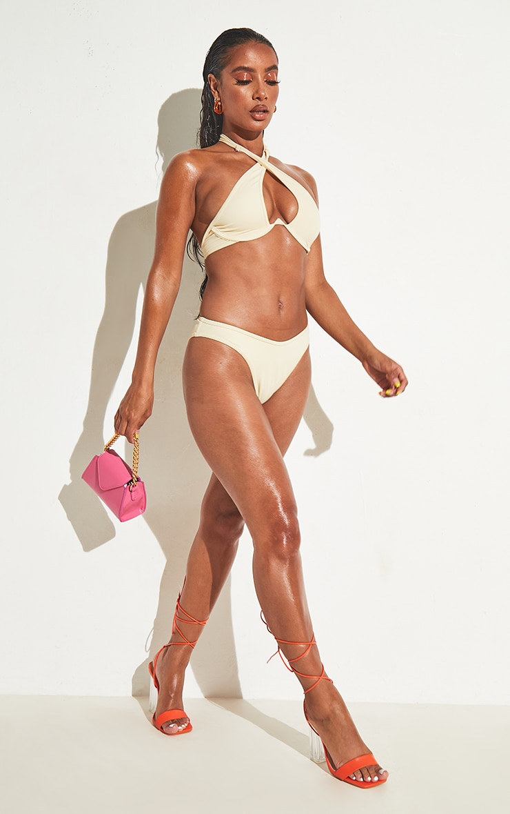 Cream High Leg Bikini Bottoms 3