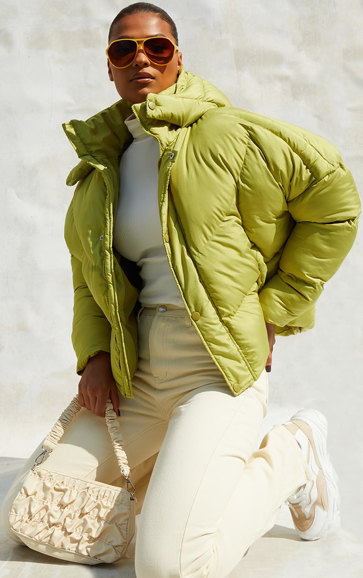 Green Nylon Oversized Curved Panel Wadded Puffer Jacket 1