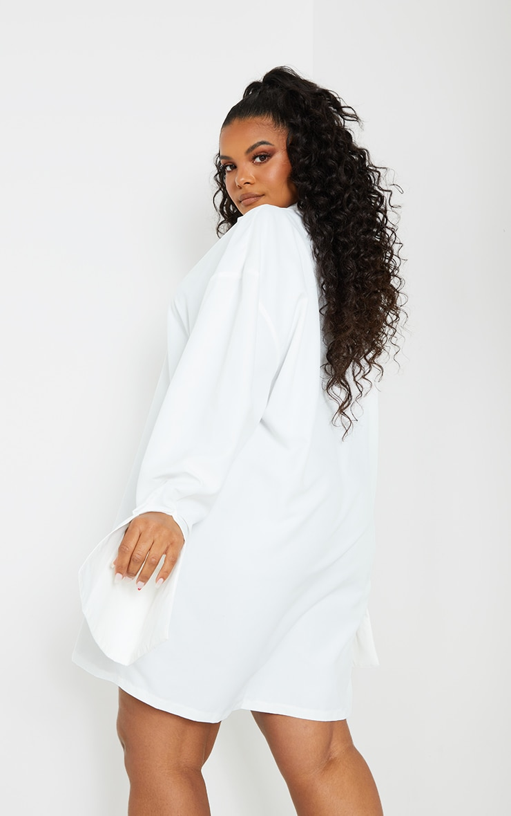 Plus White Plain Oversized Shirt Dress 2
