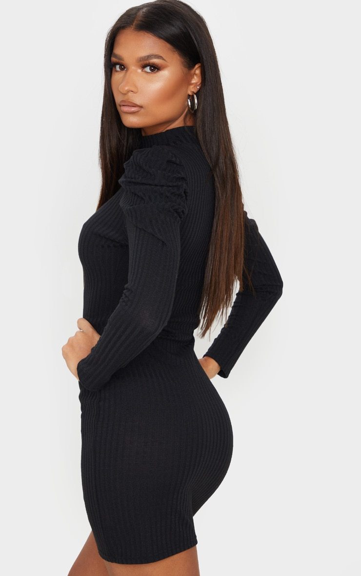 Black Puff Shoulder Funnel Neck Rib Knitted Dress 2