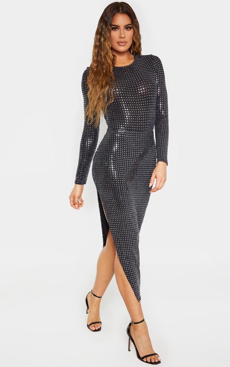 Tall Black Sequin Split Side Skirt  1