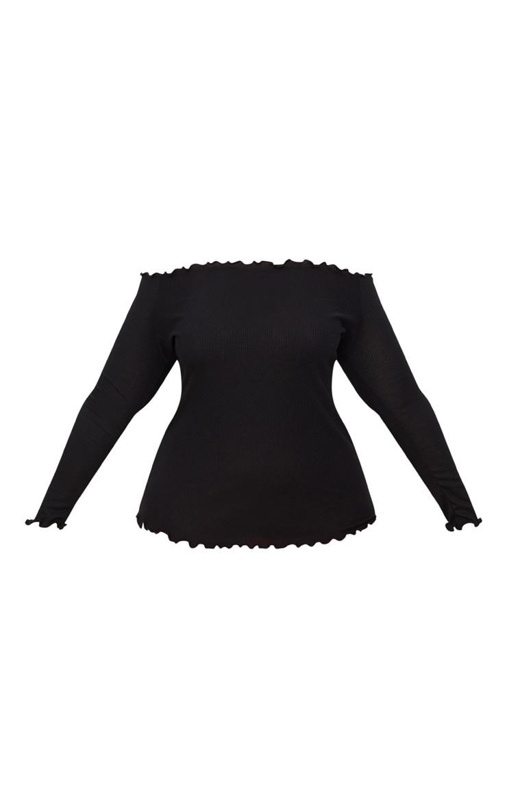 Black Plus Frill Edge Bardot Top 3