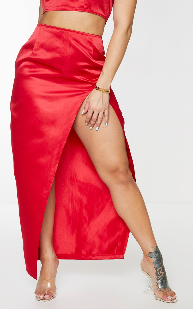 Shape Red Structured Satin Split Detail Midaxi Skirt 2