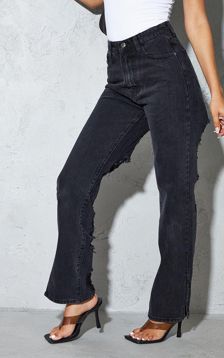 Petite Black Ripped Back Split Hem Jeans 2