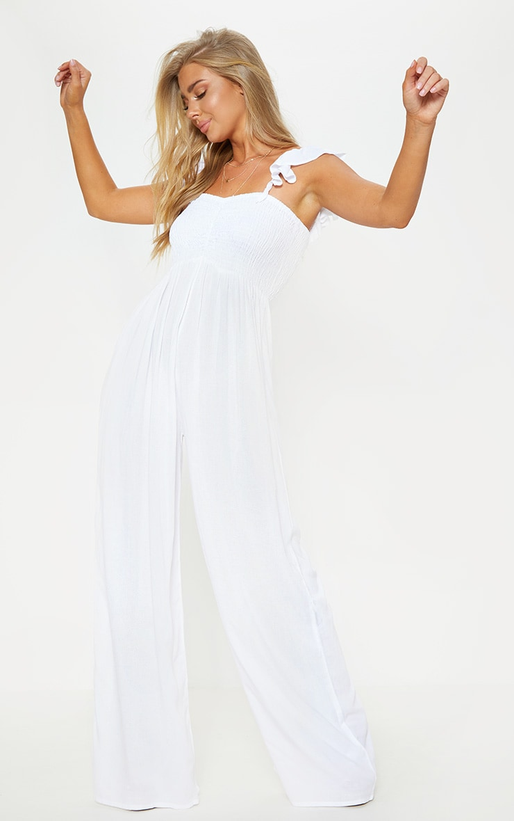 White Frill Strap Beach Jumpsuit 1